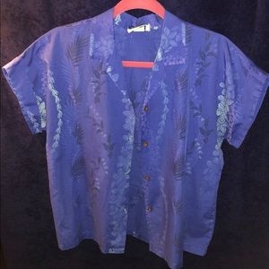 Hawaiian Blue Flower Button Down Print Blouse